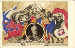Künstler Ak Pietro I, König von Serbien, Petar I. Karađorđević, Onore ai Forti