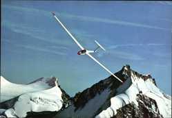 Postcard Segelflugzeug, Berggipfel, Schneeberge, Himmel, Über den höchsten Gipfeln