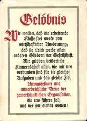 Postcard Gelöbnis,Allgem. Dt. Gewerkschaftsbund, 11. Bezirk,Jugendtreffen Hamburg 1928