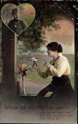 Postcard Wenn ich ein Vöglein wär, Soldatenliebe, Frau mit Brieftaube