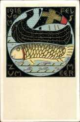 Postcard Kriegsanleihe, Wikingerboot, Fisch, 1918, Kriegsnagelung