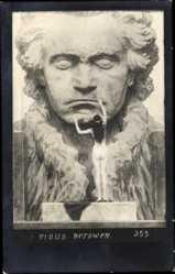 Jugendstil Künstler Ak Fidus, Komponist Ludwig van Beethoven, nackte Frau