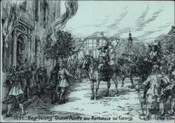 Künstler Ak Coswig an der Elbe im Kreis Wittenberg, Begrüßung Gustav Adolfs