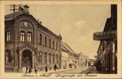 Postcard Bützow im Kreis Rostock, Langestraße mit Postamt, Friedrich Krause