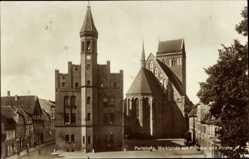 Postcard Perleberg Brandenburg, Marktplatz, Rathaus, Kirche