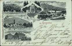 Mondschein Litho Georgenthal im Tal der Apfelstädt, Schützenhof, Rodebachs Mühle