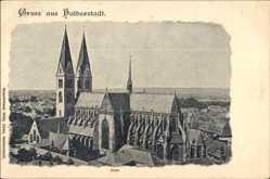 Postcard Halberstadt in Sachsen Anhalt, Blick auf den Dom und die Umgebung