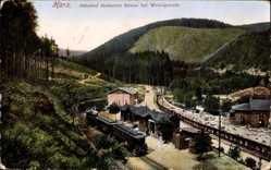 Postcard Wernigerode am Harz, Bahnhof Steinerne Renne, Eisenbahn,Waldstation