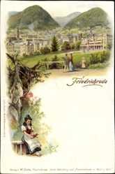 Litho Friedrichroda im Thüringer Wald, Ortschaft, Frau in Tracht