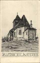 Künstler Ak Köhler, G., Wespen Barby, Blick auf die Kirche, Zeichnung