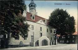 Postcard Ermsleben Falkenstein, Blick auf das Rathaus, Straßenpartie, Bäume