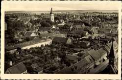 Postcard Genthin am Elbe Havel Kanal, Stadtpanorama, Glockenturm, Gebäude