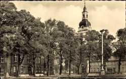 Postcard Genthin am Elbe Havel Kanal, Rathaus am Ernst Thälmann Platz, Bäume
