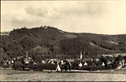 Postcard Erdmannsdorf Augustusburg im Erzgebirge, Blick auf den Ort und zur Burg