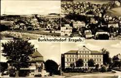 Postcard Burkhardtsdorf Erzgebirge, Gesamtansicht, Rathaus, Schule, Teilansicht