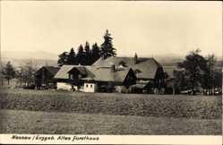 Foto Ak Nassau Frauenstein im Erzgebirge, Blick auf das alte Forsthaus, Felder