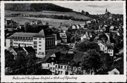 Postcard Schlema Erzgebirge, Blick über die Stadt, Kurhotel, Häuser
