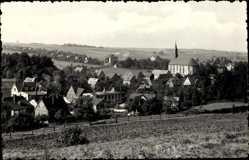 Postcard St. Jacob Mülesen in Sachsen, Totalansicht der Ortschaft, Kirche