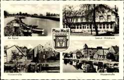 Wappen Ak Plau Mecklenburg, Am Kanal, Wasserstraße, Seelust Waldheim