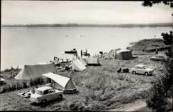 Postcard Luftkurort Plau am See, Blick auf den Zeltplatz am See, Autos, Camping