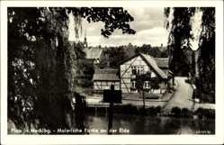 Postcard Luftkurort Plau am See, Malerische Partie an der Elde, Fachwerkhaus