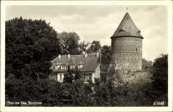 Postcard Plau am See Mecklenburg, Blick auf den Burgturm mit Umgebung