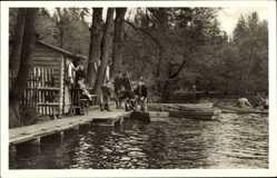 Postcard Friedrichroda Thüringen, Bootsstation, Bootshaus, Uferpartie