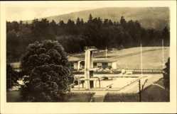 Postcard Friedrichroda im Thüringer Wald, Blick in das Schwimmbad, Sprungturm