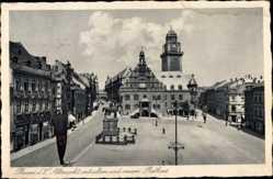Postcard Plauen im Vogtland, Altmarkt mit altem und neuem Rathaus, Reiterstandbild