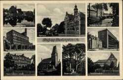 Postcard Oberlungwitz in Sachsen, Rathaus, Strumpffabrik F. Tauscher, Pestalozzischule