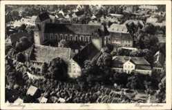Ak Havelberg in Sachsen Anhalt, Blick auf den Ort mit Dom, Fliegeraufnahme