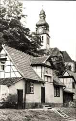 Postcard Oldisleben im Kyffhäuserkreis, Hausansicht mit Kirchturm
