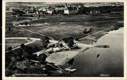 Ak Pretzsch Bad Schmiedeberg, Blick auf den Elbstrand, Fliegeraufnahme