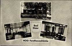 Postcard Bad Elster im Vogtland, HOG Forsthausschänke, innen und außen