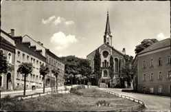 Postcard Schöneck im Vogtland Sachsen, Straßenpartie, Häuser, Kirche