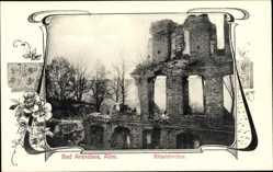 Passepartout Ak Bad Arendsee Altmark, Blick auf die Klosterruine, Blumen