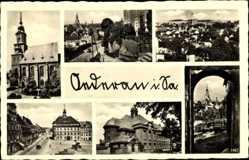 Postcard Oederan Sachsen, Kirche, Marktplatz, Rathaus, Totale, Tor