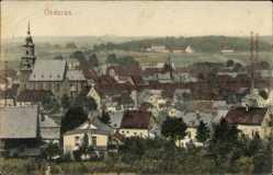 Postcard Oederan Sachsen, Totalansicht der Ortschaft, Kirche, Felder