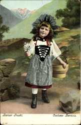 Ak Mächen in Berner Tracht, Blumenstrauß, Costume Bernois