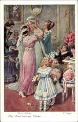 Künstler Gedicht AkElßner, F., Das Lied von der Glocke, Braut, Blumenmädchen