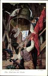 Künstler Ak Elßner, F., Das Lied von der Glocke, Fr. v. Schiller, Tauben