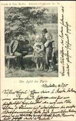 Künstler Ak Der Apfel des Paris, Junge auf Bank sitzend mit drei Mädchen
