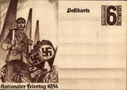 Ganzsachen Ak Nationaler Feiertag 1934, 1 Mai 1934, Arbeiter, NSDAP Propaganda