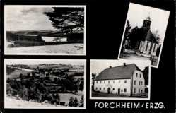 Postcard Forchheim Pockau Lengefeld im Erzgebirge, Kirche, Gasthaus, Total