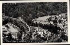 Ak Altenbrak Thale im Harz, Blick auf den Ort mit Sommerbad