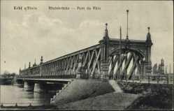 Postcard Kehl am Rhein Ortenaukreis, Seitenansicht der Rheinbrücke