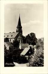 Foto Ak Pockau Lengefeld im Erzgebirge Sachsen, Häuser mit Ortskirche