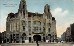 Postcard Frankfurt Main, Haupteingang des Circus Schumann, Passanten