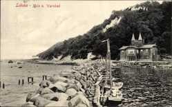 Ak Lohme auf der Insel Rügen, Mole und Warmbad, Segelboot, Haus