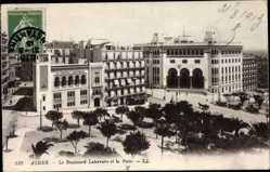 Ak Algier Alger Algerien, Le Boulevard Laferriére et la Poste